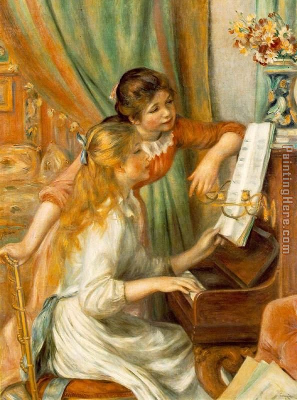 Pierre Auguste Renoir Girls at The Piano Art Painting